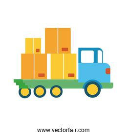 truck with boxes carton delivery service line and fill style icon