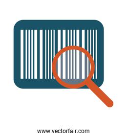 bar code with magnifying glass line and fill style icon