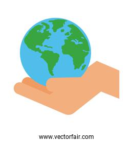 hand lifting world planet earth line and fill style icon