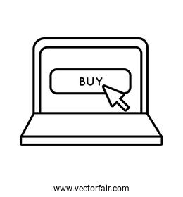 laptop with buy button line style icon