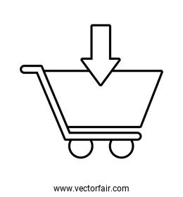 shopping cart with arrow down line style icon