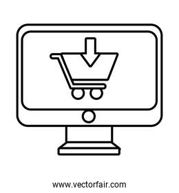 desktop with shopping cart line style icon