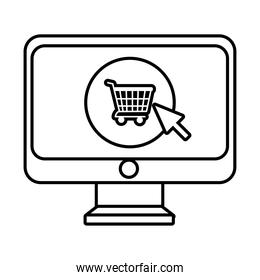 desktop with shopping cart and mouse arrow line style icon