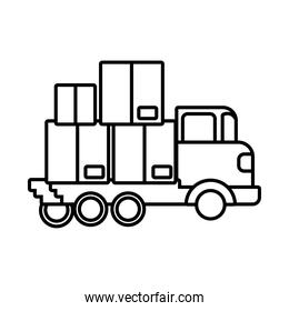 truck with boxes carton delivery service line style icon