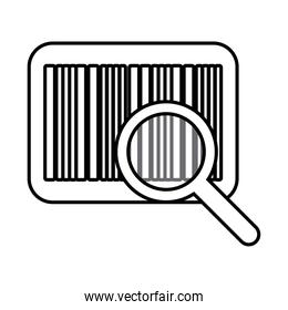 bar code with magnifying glass line style icon