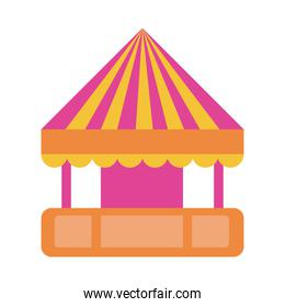tent kiosk mechanical fairground attraction flat style icon