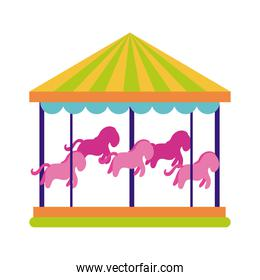 carousel mechanical fairground attraction flat style icon