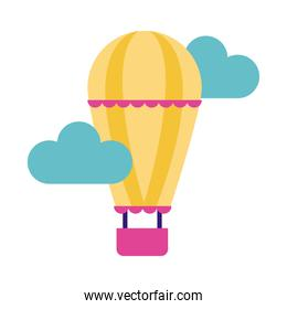 balloon air hot flying flat style icon