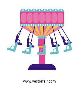 chairs flying mechanical fairground attraction flat style icon