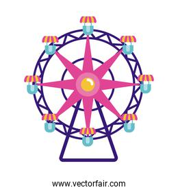 panoramic wheel mechanical fairground attraction flat style icon