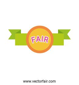 fair seal with ribbon flat style icon