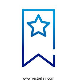 star with ribbon gradient style icon
