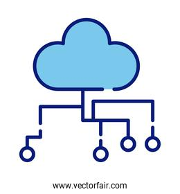 cloud computing line and fill style icon