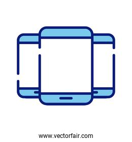 smartphones devices style line and fill icons