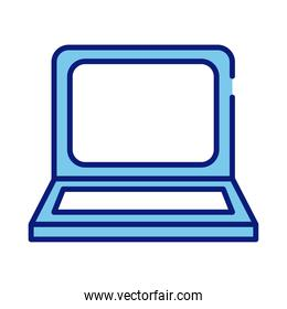 laptop computer portable device line and fill style icon