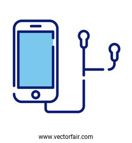smartphone device with earphones line and fill style icon