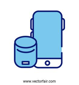 smartphone device with speaker line and fill style icon
