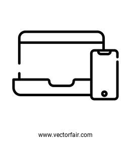 laptop with smartphone devices line style icon