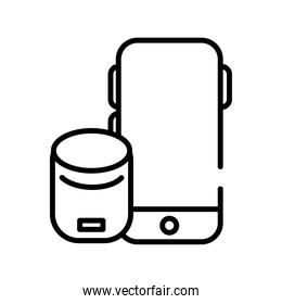 smartphone device with speaker line style icon