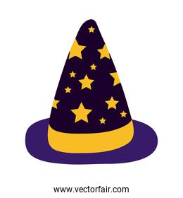 halloween witch hat with stars flat style icon