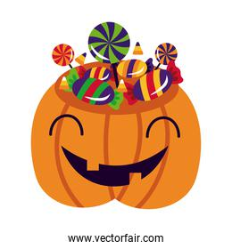 halloween pumpkin with sweet candies flat style icon
