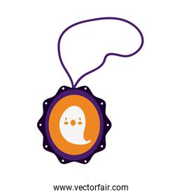 halloween necklace with ghost flat style icon