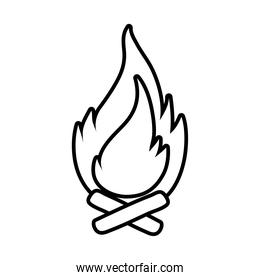 campfire flame line style icon