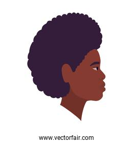 black and afro man cartoon in side view vector design