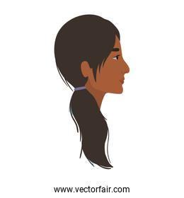 indian woman cartoon in side view vector design