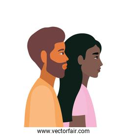 black woman and brown hair man cartoon in side view vector design