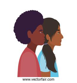 indian woman and black man cartoon in side view vector design