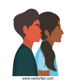 indian woman and man cartoon in side view vector design