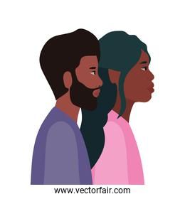 black woman and black man cartoon in side view vector design