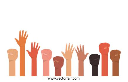 fist and open hands up of different types of skins vector design