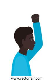 black man cartoon with fist up in side view vector design