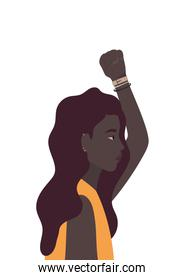 black woman cartoon and fist up in side view vector design