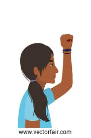 indian woman cartoon and fist up in side view vector design