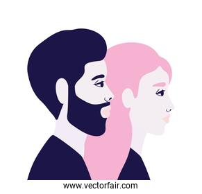 woman and man cartoon in side view in blue and pink colors vector design