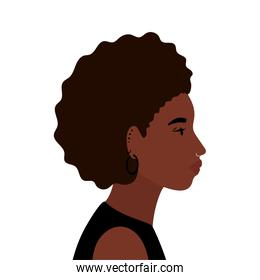 black and afro woman cartoon in side view vector design