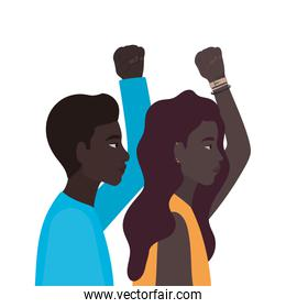 black woman and man cartoons with fist up in side view vector design