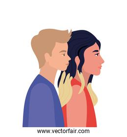 woman and blond man cartoon in side view vector design
