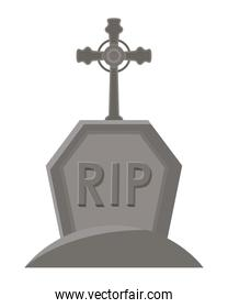rip grave with cross vector design