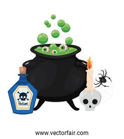 Halloween skull poison and witch bowl vector design
