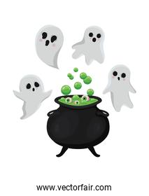Halloween ghosts cartoons with witch bowl vector illustration
