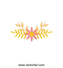decorative flowers and dry leaves icon, flat style