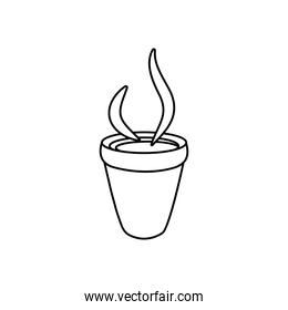 hot coffee cup icon, line style