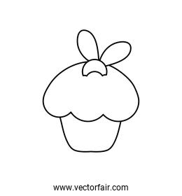 sweet cupcake icon, line style