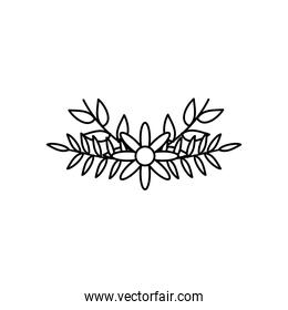 decorative flowers and dry leaves icon, line style