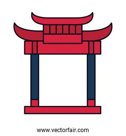 oriental gate icon, line and fill style