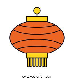 Mid autumn concept, icon of chinese lamp, line and fill style